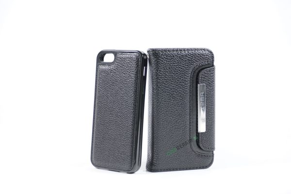 Billig iPhone 5 5S SE Flipcover Magnetcover Magnet kan tages ud Cover Bagcover Gummicover A1453 A1457 A1518 A1528 A1530 A1533 A1428 A1429 A1442 A1723 A1662 A1724 Sort