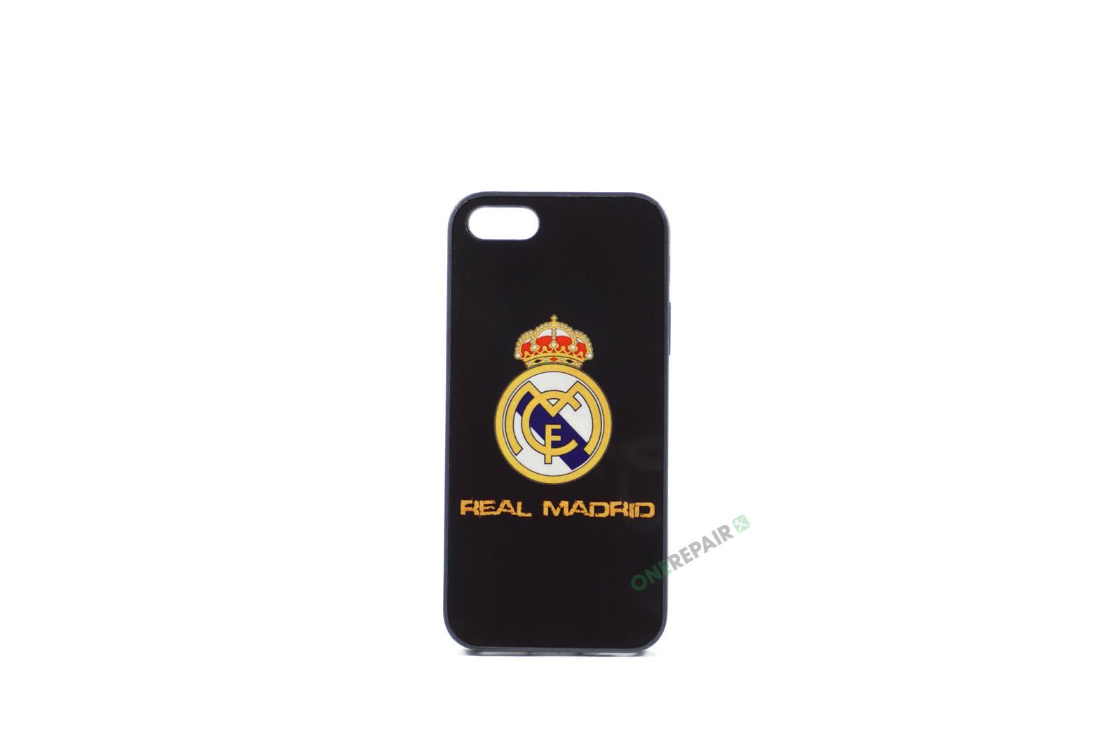 Billig iPhone 5 5S SE Cover Bagcover Fodbold Klub Real Madrid RMFC Gummicover A1453 A1457 A1518 A1528 A1530 A1533 A1428 A1429 A1442 A1723 A1662 A1724