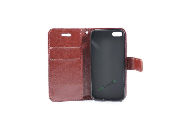 Billig iPhone 5 5S SE Flipcover Pung Plads til kort Apple Cover A1453 A1457 A1518 A1528 A1530 A1533 A1428 A1429 A1442 A1723 A1662 A1724 Brun
