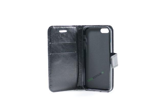 Billig iPhone 5 5S SE Flipcover Pung Plads til kort Apple Cover A1453 A1457 A1518 A1528 A1530 A1533 A1428 A1429 A1442 A1723 A1662 A1724 Sort