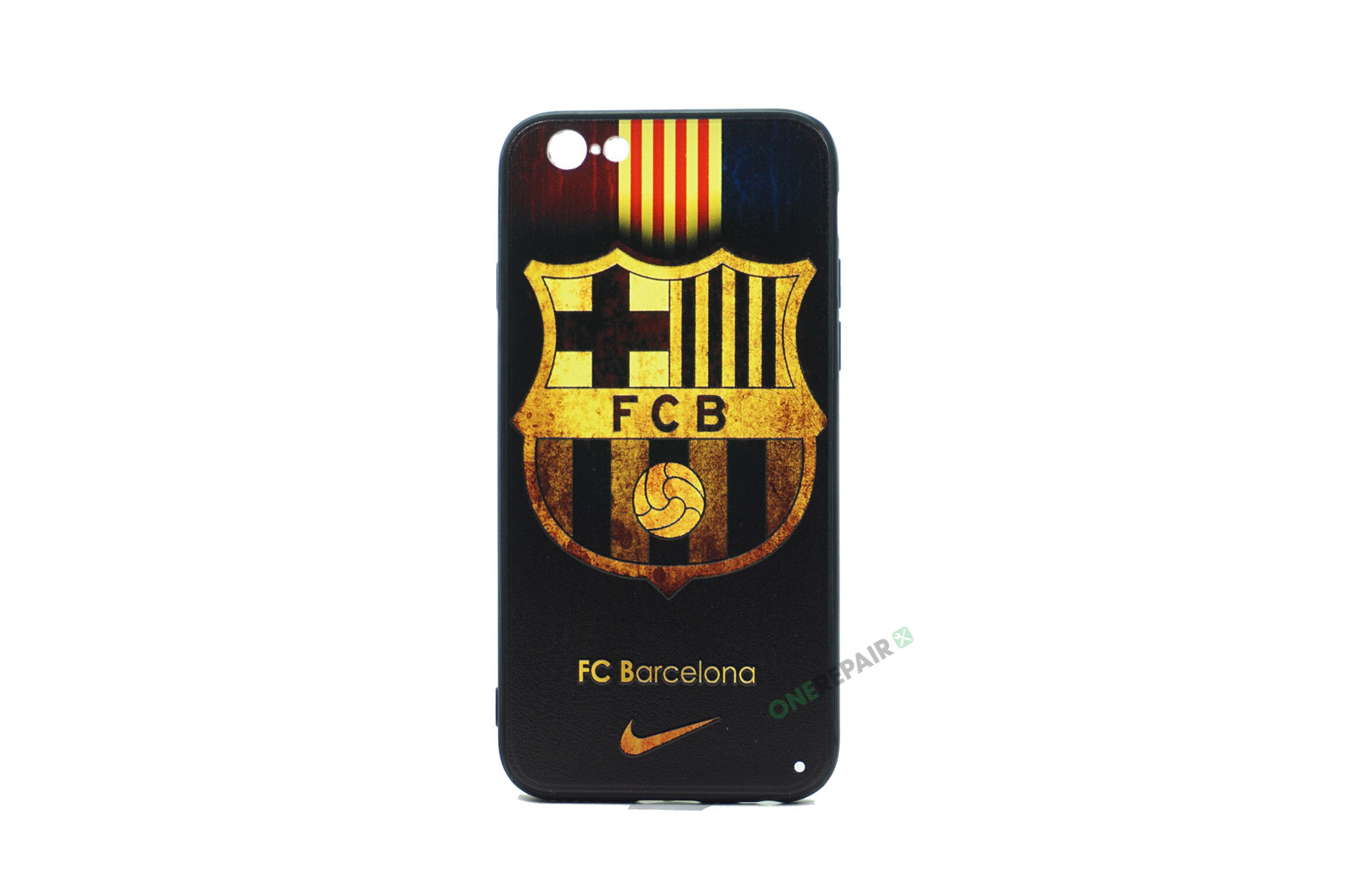 iPhone 6, 6S, A1549, A1586, A1589, A1633, A1688, A1700, A1691, Apple, Bagcover, Cover, Billig, Motiv, Fodbold, Klub, Barcelona, FC, Sort