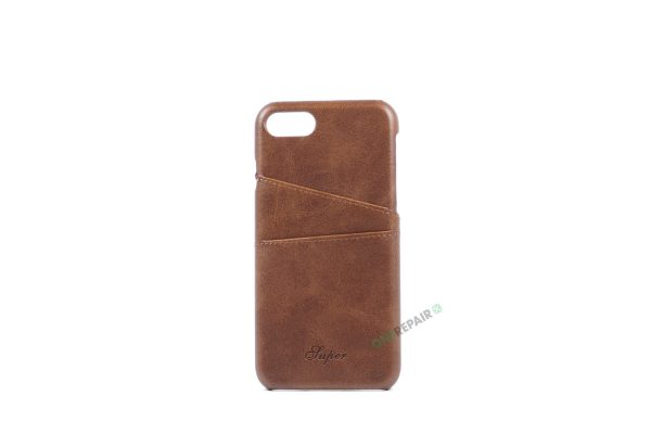 iPhone 7, iPhone 8, Cover, Plads til kort, Brun