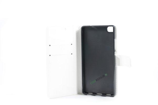 Huawei P8, Flipcover, cover, Plads til kort, Hvid