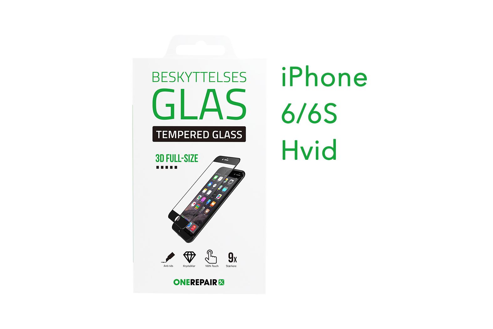 beskyttelsesglas, beskyttelse, glas, iPhone 6, 6S Apple, Fullsize, Full, Size, Pazer, Panser, Hvid, staerk, stærk, Godt, Billig, 3d