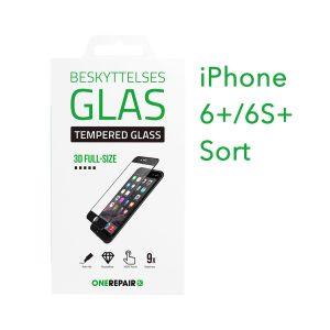 beskyttelsesglas, beskyttelse, glas, iPhone 6+, 6S+, Plus, Apple, Fullsize, Full, Size, Pazer, Panser, sort, staerk, stærk, Godt, Billig, 3d