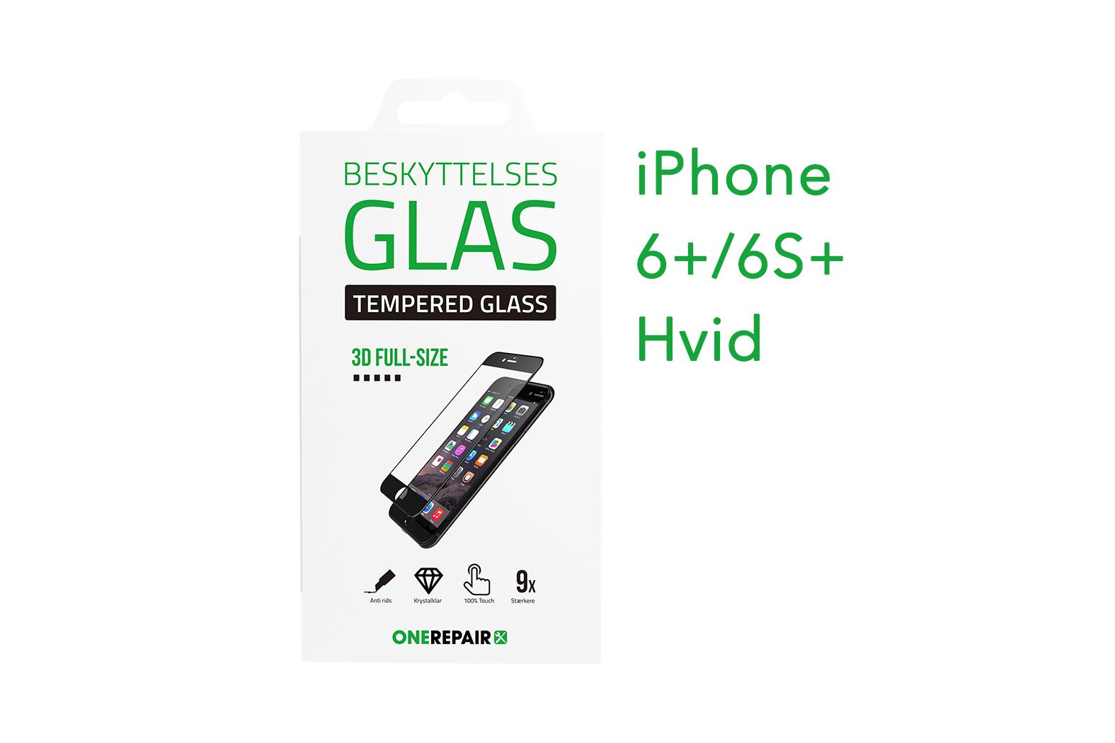 beskyttelsesglas, beskyttelse, glas, iPhone 6+, 6S+, Plus, Apple, Fullsize, Full, Size, Pazer, Panser, Hvid, staerk, stærk, Godt, Billig, 3d