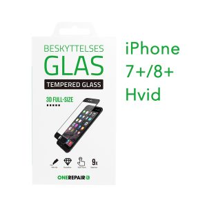 beskyttelsesglas, beskyttelse, glas, iPhone 7+, 8+, Plus, Apple, Fullsize, Full, Size, Pazer, Panser, Hvid, staerk, stærk, Godt, Billig, 3d