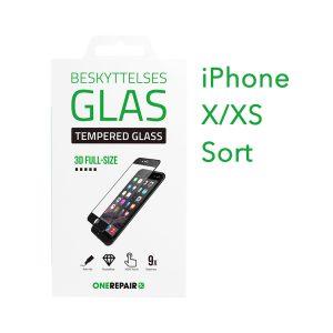 beskyttelsesglas, beskyttelse, glas, iPhone X, Xs, , Apple, Fullsize, Full, Size, Pazer, Panser, sort, staerk, stærk, Godt, Billig, 3d