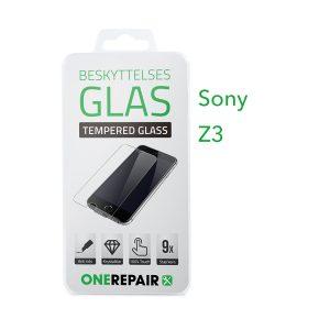 beskyttelsesglas, beskyttelse, glas, Size, Pazer, Panser, Hvid, staerk, stærk, Godt, Billig, Sony, Z3