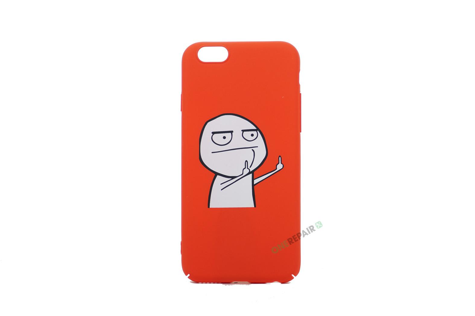 iPhone 6, 6S, A1549, A1586, A1589, A1633, A1688, A1700, A1691, Apple, Bagcover, Cover, Billig, Motiv, Finger, Meme, Roed, Rød, Sjov