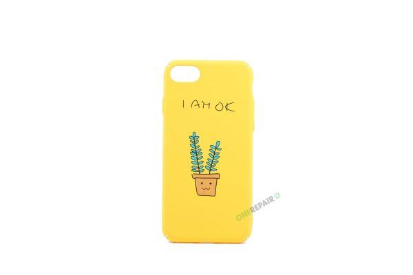 iPhone 7, iPhone 8, Gul cover, Plante, Citat