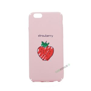 iPhone 6, 6S, A1549, A1586, A1589, A1633, A1688, A1700, A1691, Apple, Bagcover, Cover, Motiv, Pink, Lyseroed, Lyserød, Strawberry, Jordbaer, Jordbær, Billig