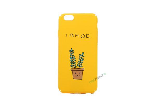 iPhone 6, 6S, A1549, A1586, A1589, A1633, A1688, A1700, A1691, Apple, Bagcover, Cover, Motiv, Gul, I am ok, Sjov, Billig