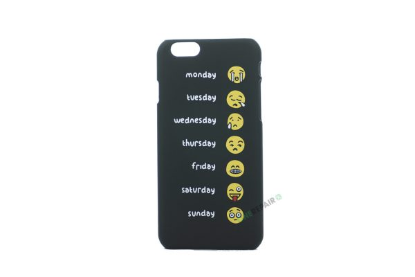 iPhone 6, 6S, A1549, A1586, A1589, A1633, A1688, A1700, A1691, Apple, Bagcover, Cover, Motiv, Sjov, Billig, Sort, Ugedage, Weekdays, Emoji