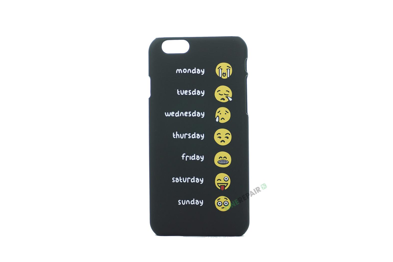iPhone 6, 6S, A1549, A1586, A1589, A1633, A1688, A1700, A1691, Apple, Bagcover, Cover, Motiv, Sjov, Billig, Sort, Ugedage, Weekdays, Emoji