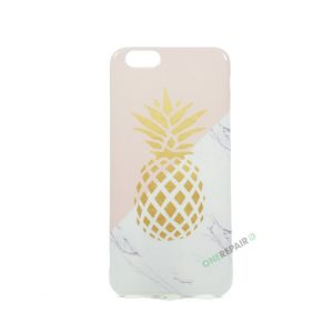 iPhone 6, 6S, A1549, A1586, A1589, A1633, A1688, A1700, A1691, Apple, Bagcover, Cover, Motiv, Billig, Ananas, Pink, Lyseroed, Lyserød, Marmor, Guld