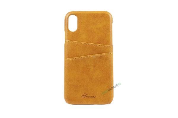 iPhone Xr, A1984, A2105, A2106, A2108, Brun, Læder, Plads til kort, Billig, Cover, Bagcover,