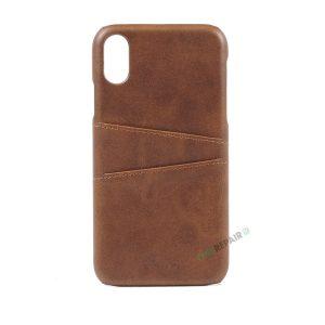 iPhone Xr, A1984, A2105, A2106, A2108, Brun, Læder, Laeder, Plads til kort, Billig, Cover, Bagcover,