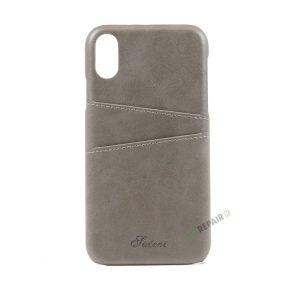 iPhone Xr, A1984, A2105, A2106, A2108, Graa, Grå, Plads til kort, Billig, Cover, Bagcover,