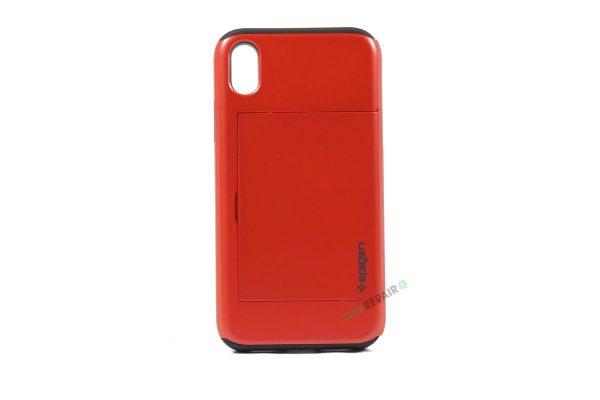 iPhone, X Xs Max, Hardcase, cover, håndværker cover, haandvaerkercover, plads til kort, billig, rød, roed