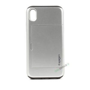 iPhone, X Xs Max, Hardcase, cover, håndværker cover, haandvaerkercover, plads til kort, billig, soelv, sølv