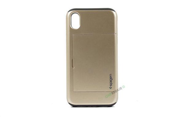 iPhone, X Xs Max, Hardcase, cover, håndværker cover, haandvaerkercover, plads til kort, billig, guld