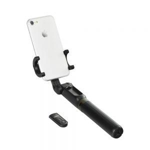 Selfiestick, Selfiestang, Selfie, Tripod, til mobil, Bluetooth, Trådløs, Traadloes, Billig, iPhone, Mobil, Sort