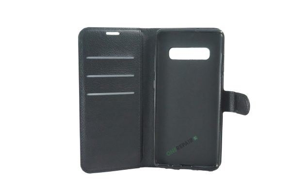 Samsung S10 Plus, S10+, flipcover, Sort, Plads til kort