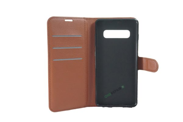 Samsung S10 Plus, S10+, flipcover, Brun, Plads til kort