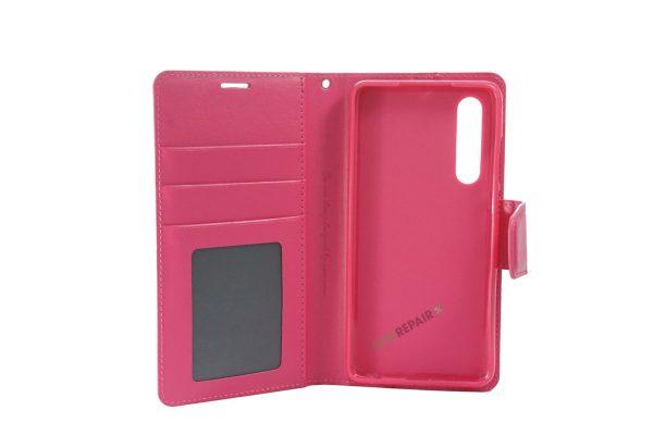 Huawei P30, flipcover, Pink, Plads til kort