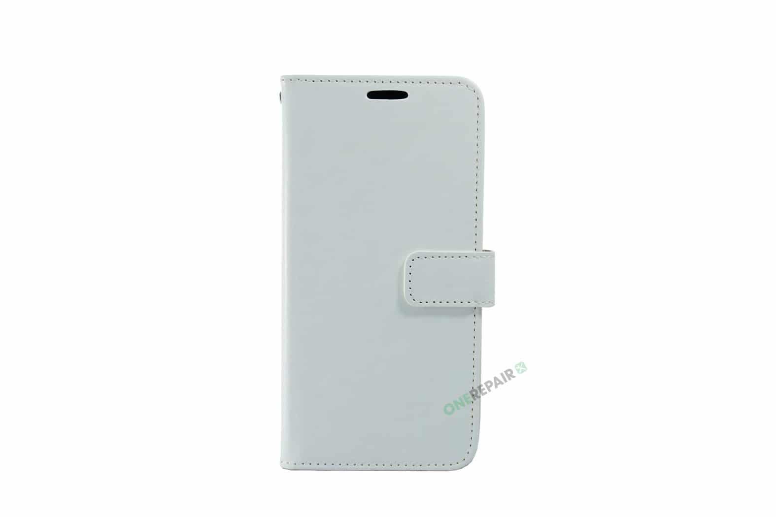 Huawei P30 Lite cover, Hvid flipcover, Plads til kort