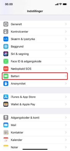 iPhone batteri kapacitet i system