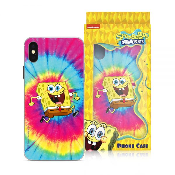 Farverigt SvampeBob Firkant cover til iPhone X og XS